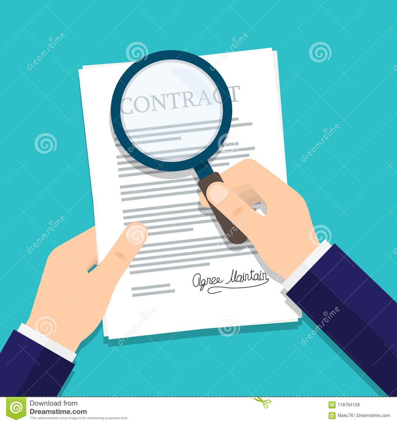 Hand holding magnifying glass over a contract