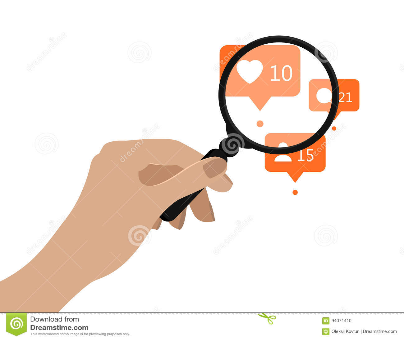 Hand holding magnifying glass. Vector illustration. Social media analytics concept. Orange notification icons under