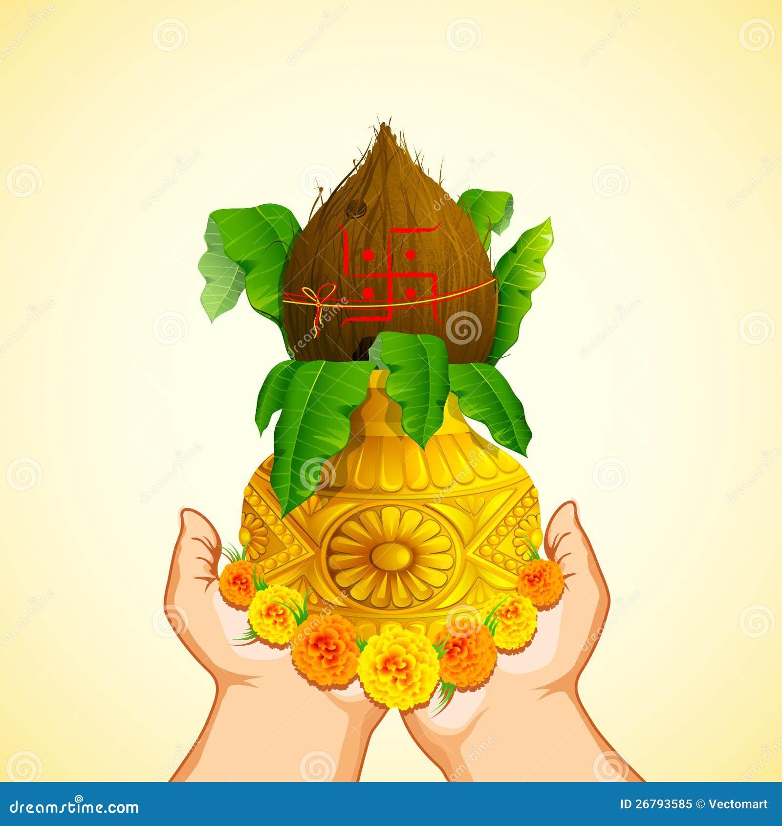 Hand Holding Mangal Kalash Royalty Free Stock Photo