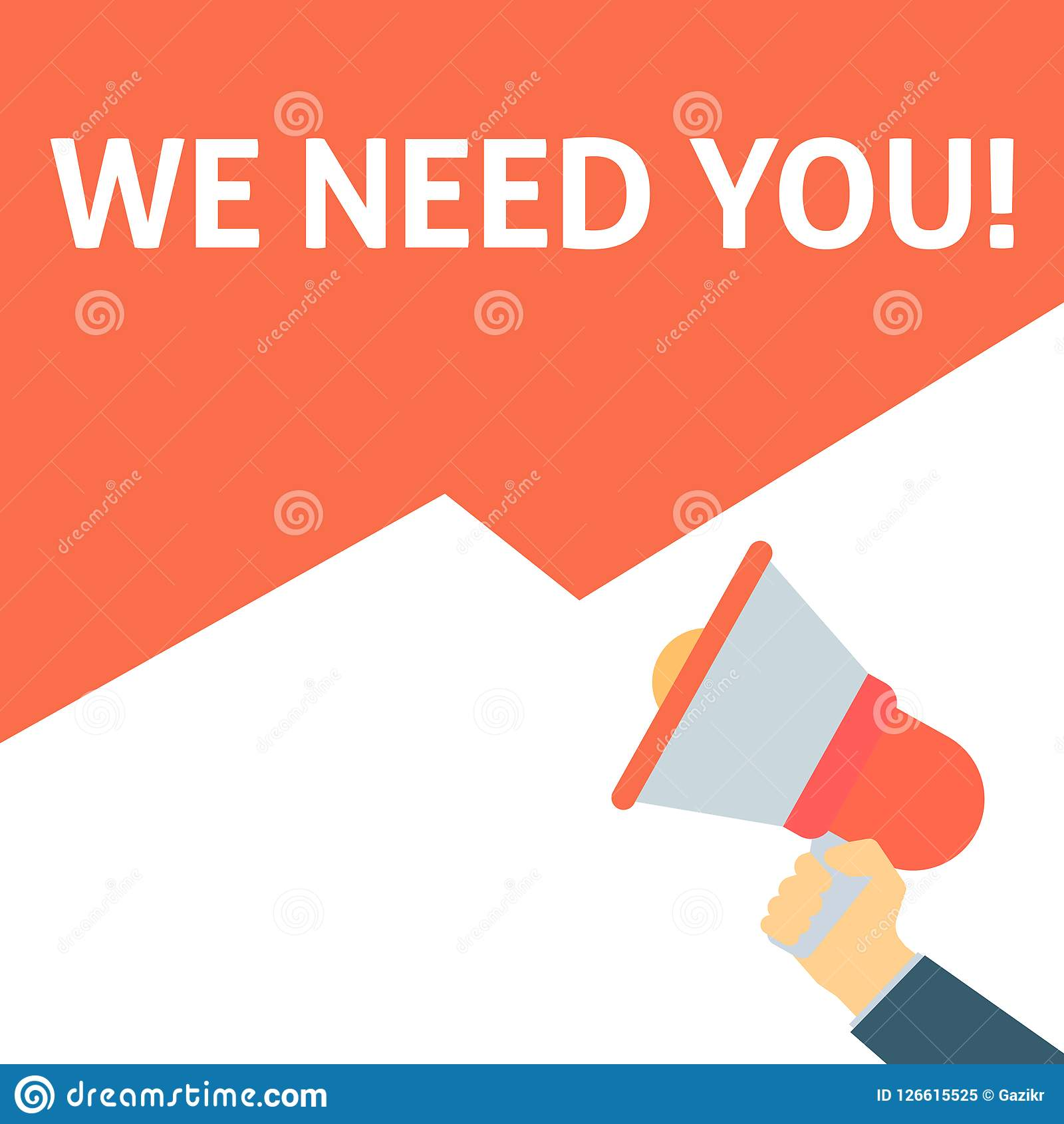 Hand Holding Megaphone With WE NEED YOU! Announcement