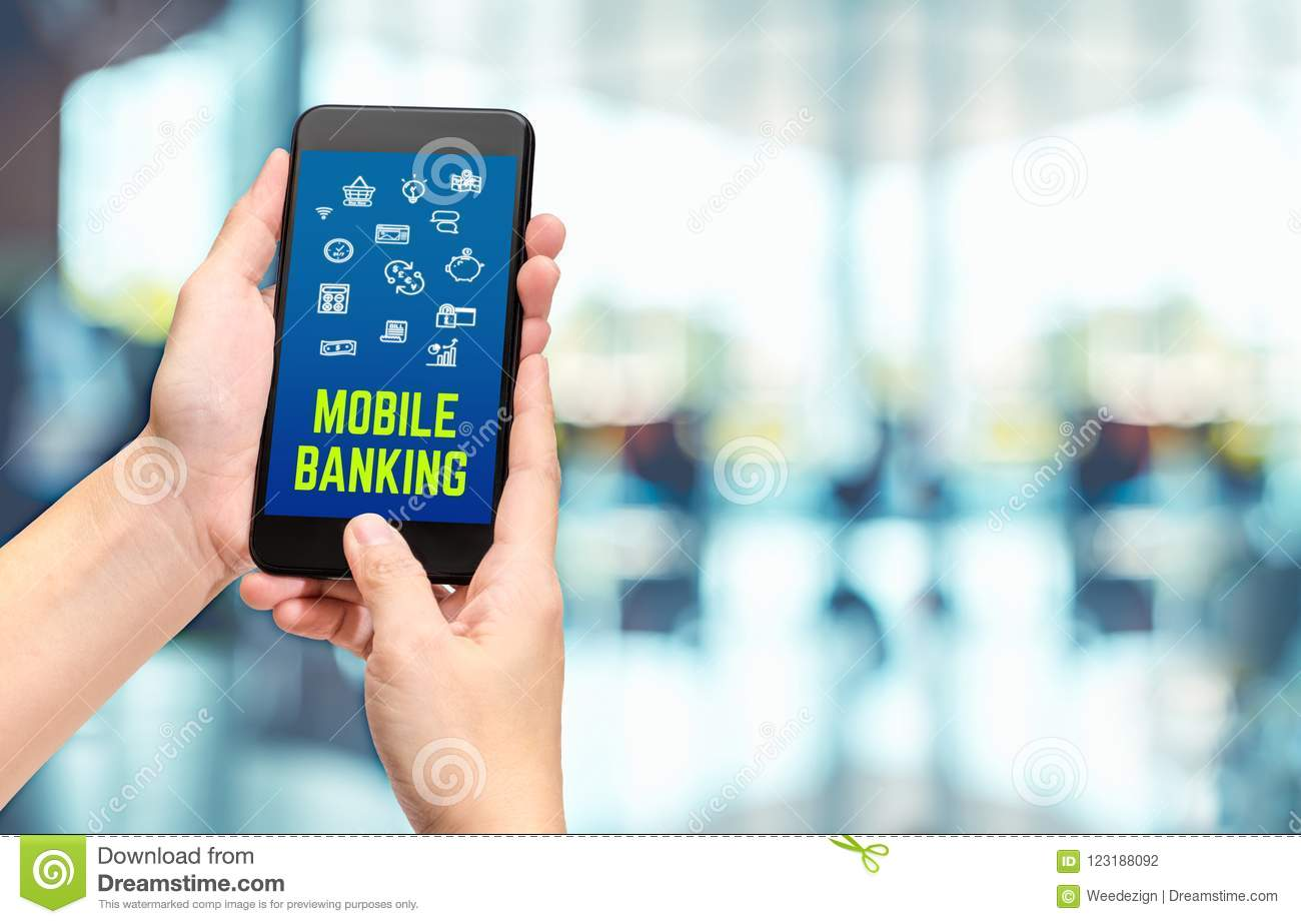 Hand Holding Mobile With Mobile Banking Apps On Smartphone
