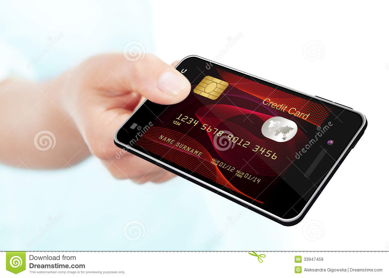 hand holding mobile phone with credit card screen isolated over white