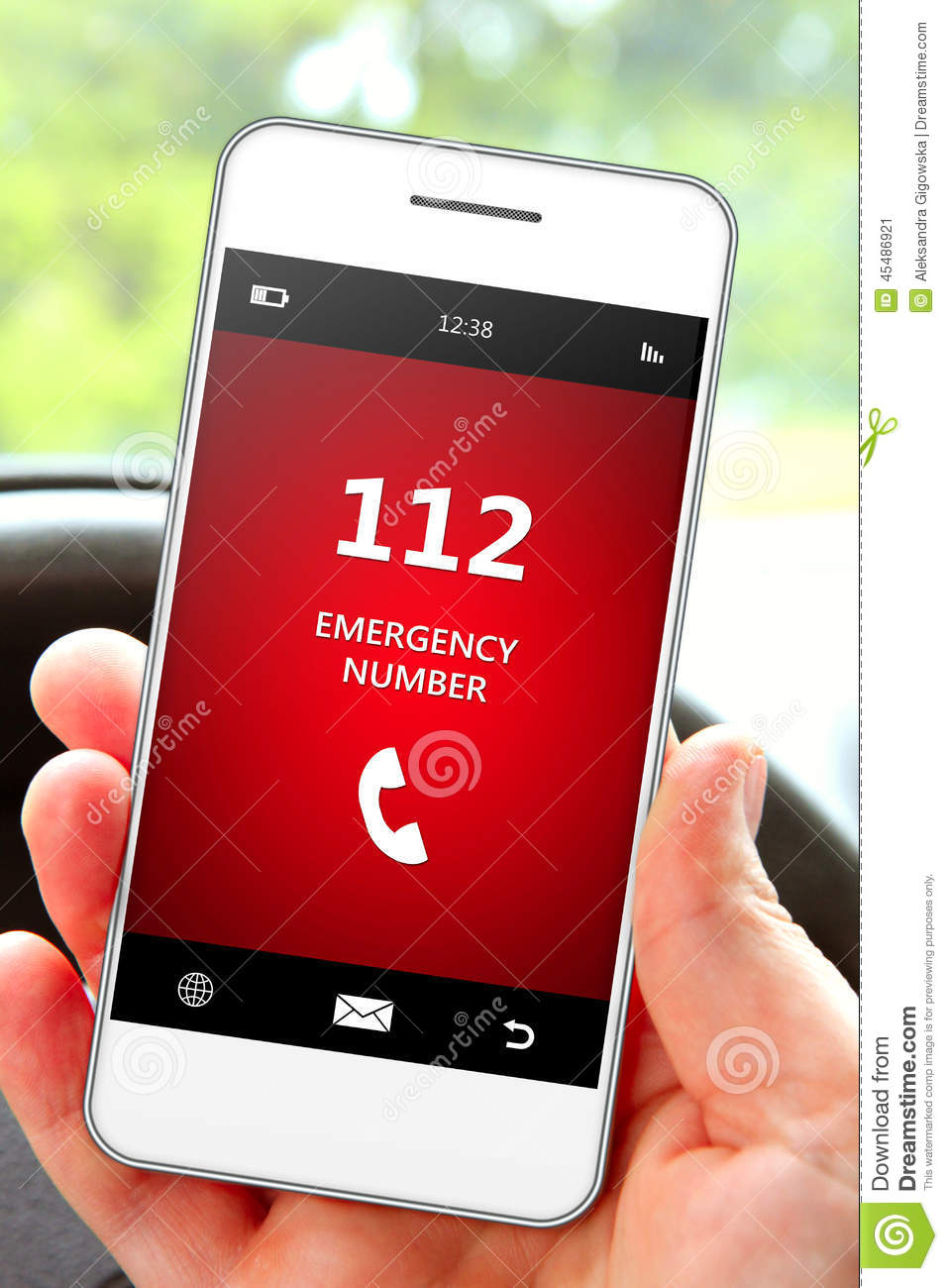 hand holding mobile phone 112 emergency number stock photo. Black Bedroom Furniture Sets. Home Design Ideas