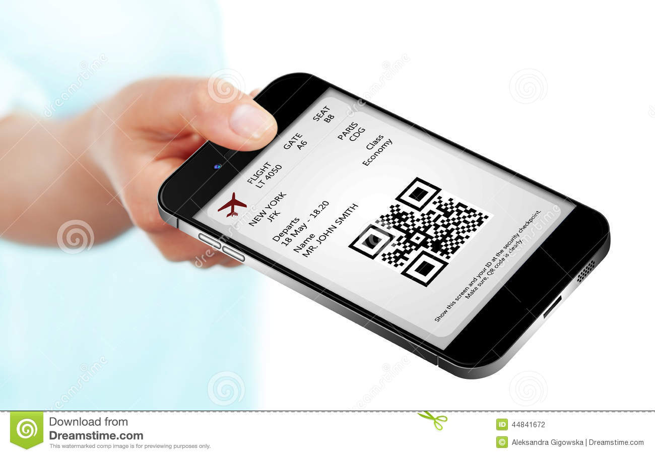 carte d embarquement sur mobile Hand Holding Mobile Phone With Mobile Boarding Pass Stock Photo