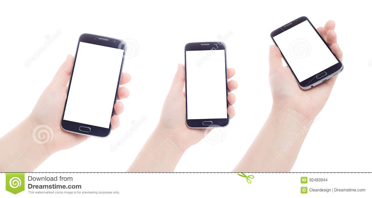 Hand holding mobile phone smartphone with blank screen