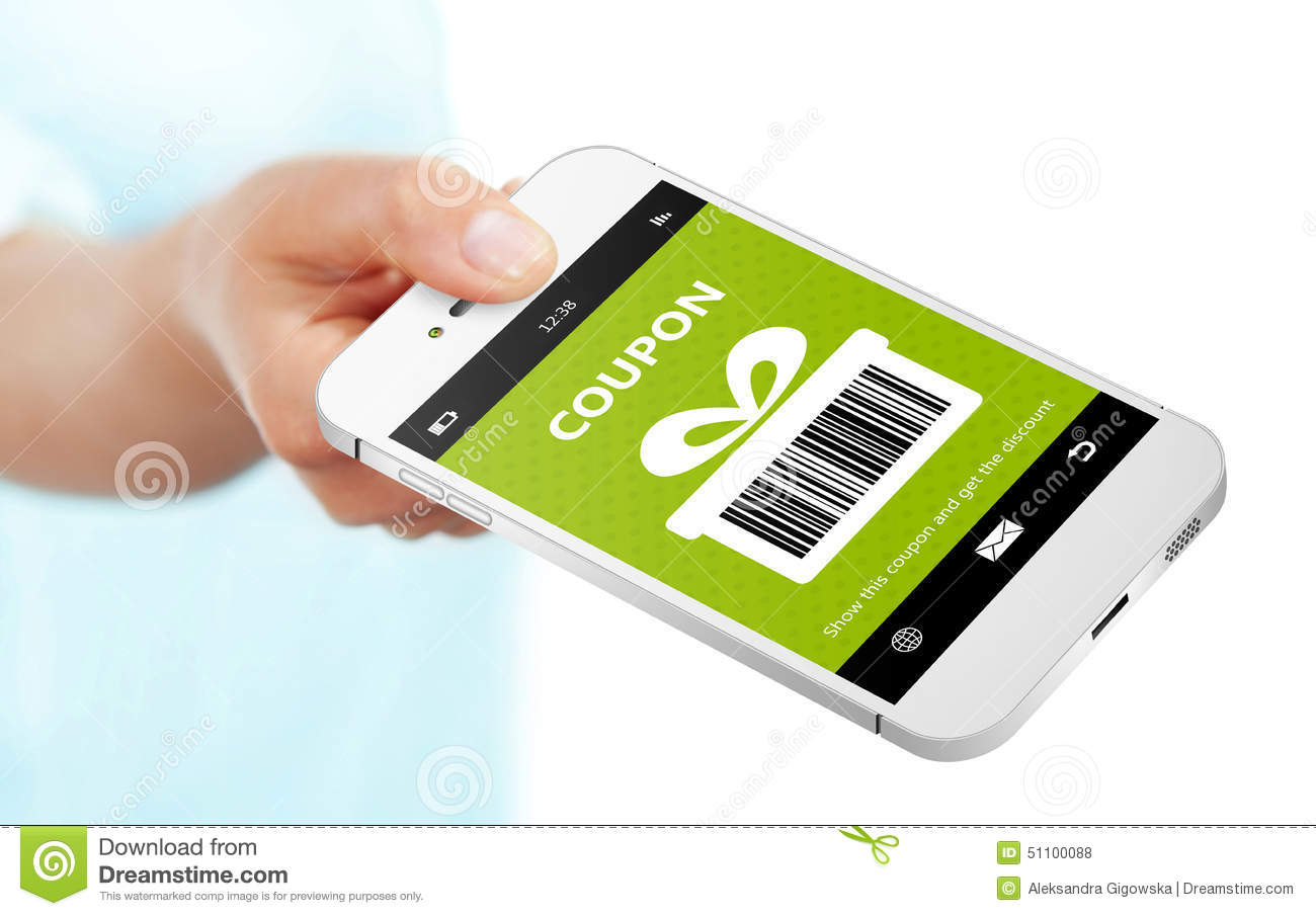 Hand holding mobile phone with spring discount coupon over for Discount mobili on line