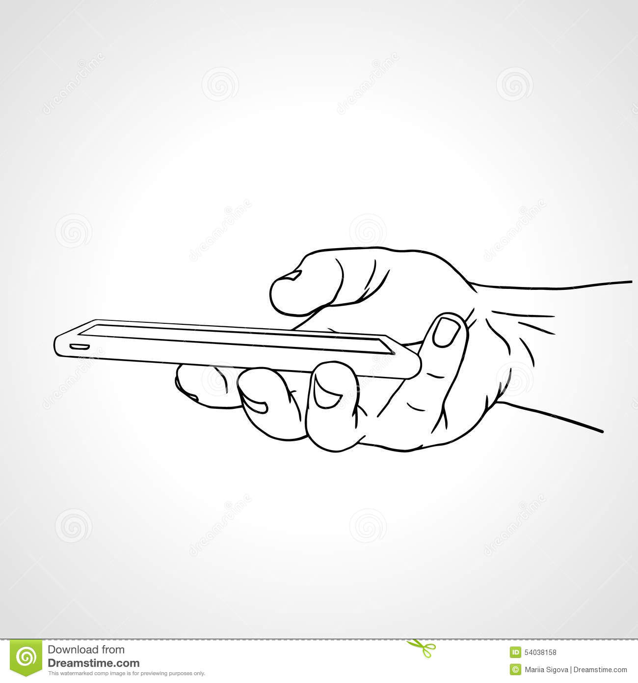 Line Art Illustration : Hand holding mobile side view vector stock