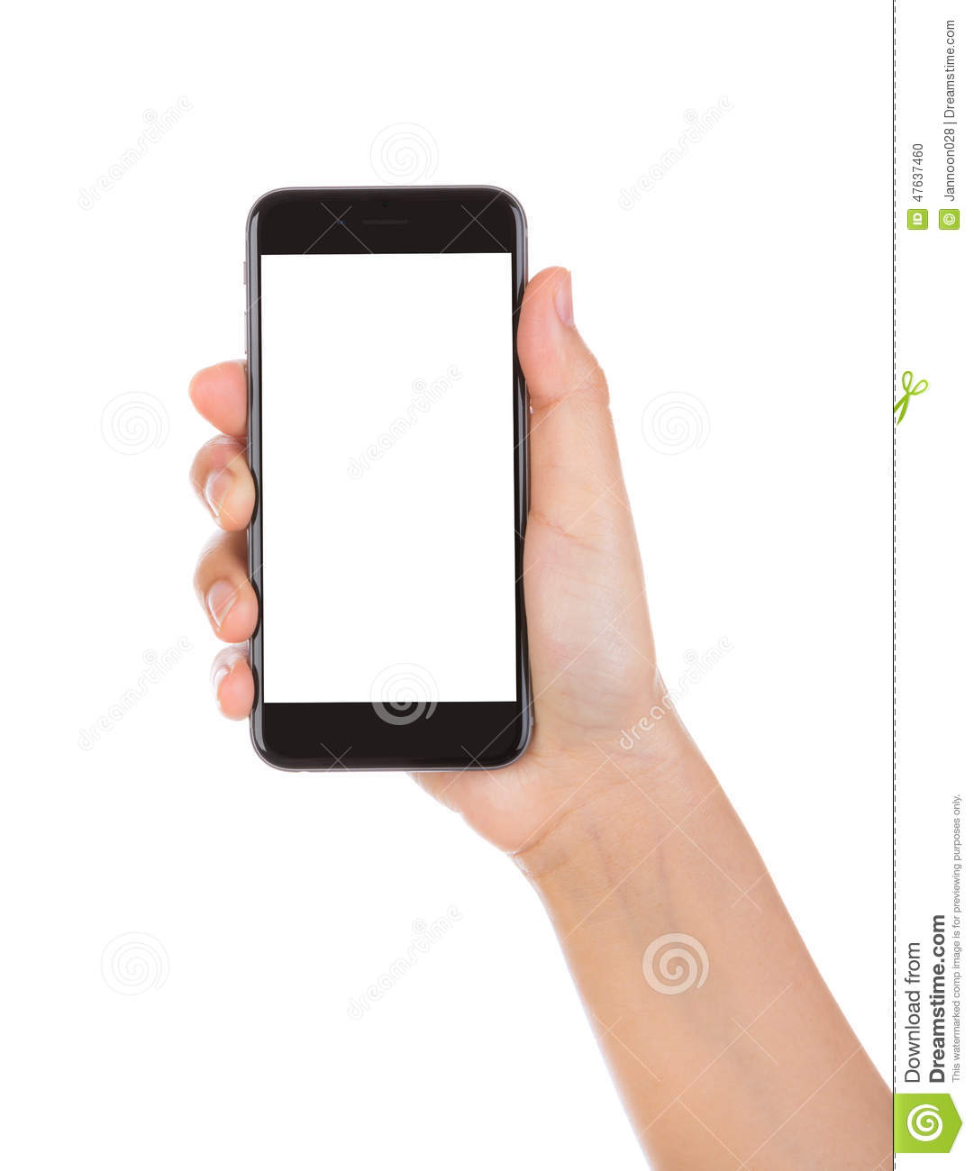 Hand Holding Mobile Smartphone With Blank Screen. Stock ...