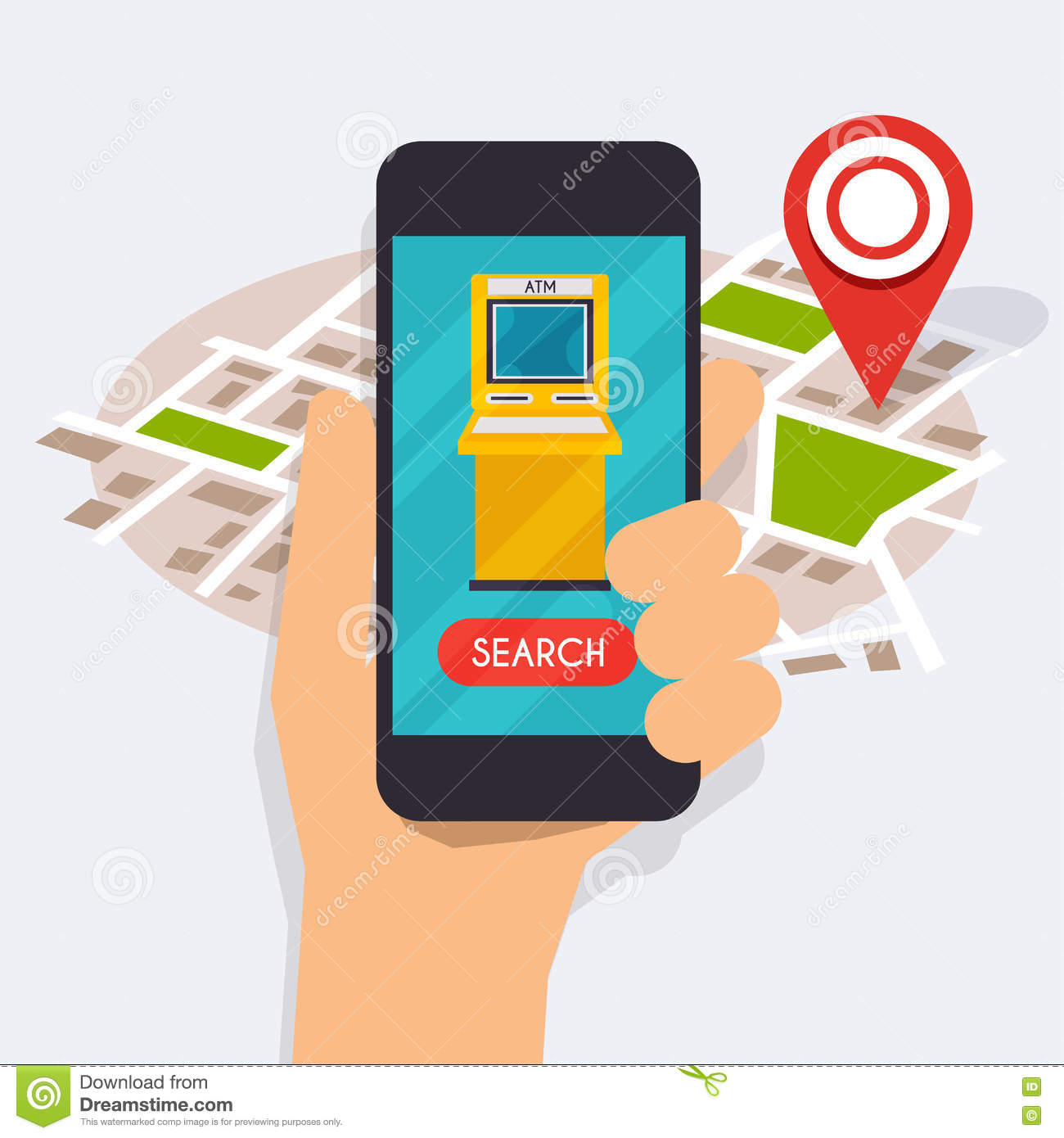 Hand Holding Mobile Smart Phone With Mobile App Atm Search