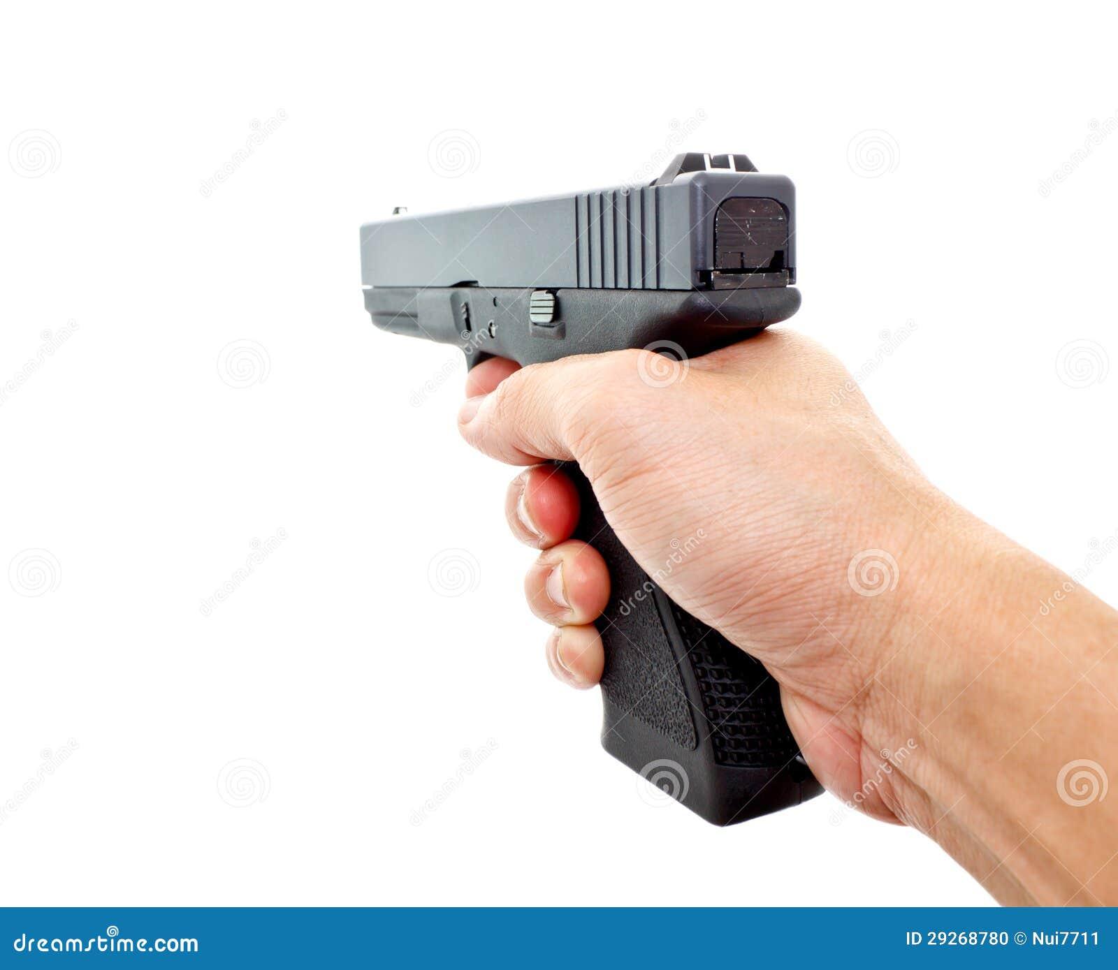Hand Holding A Modern Automatic Handgun Stock Photo ...