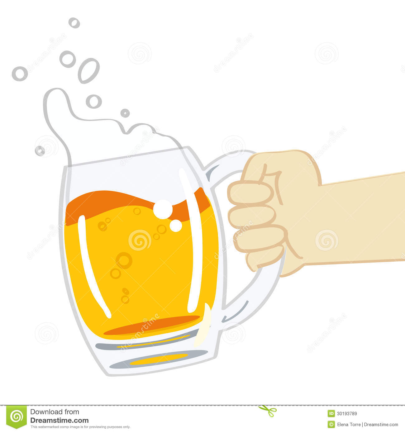 Hand holding a mug of beer - vector illustration on white background.