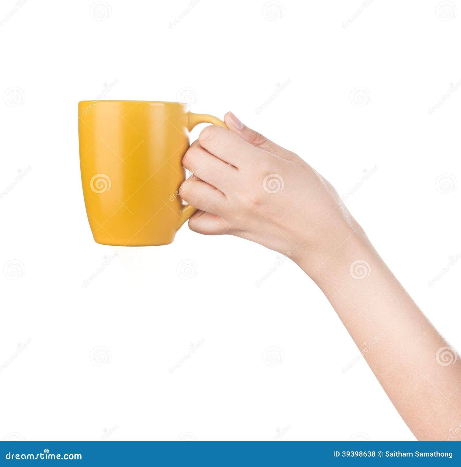 Hand Holding Mug Isolated On White Stock Photo Image