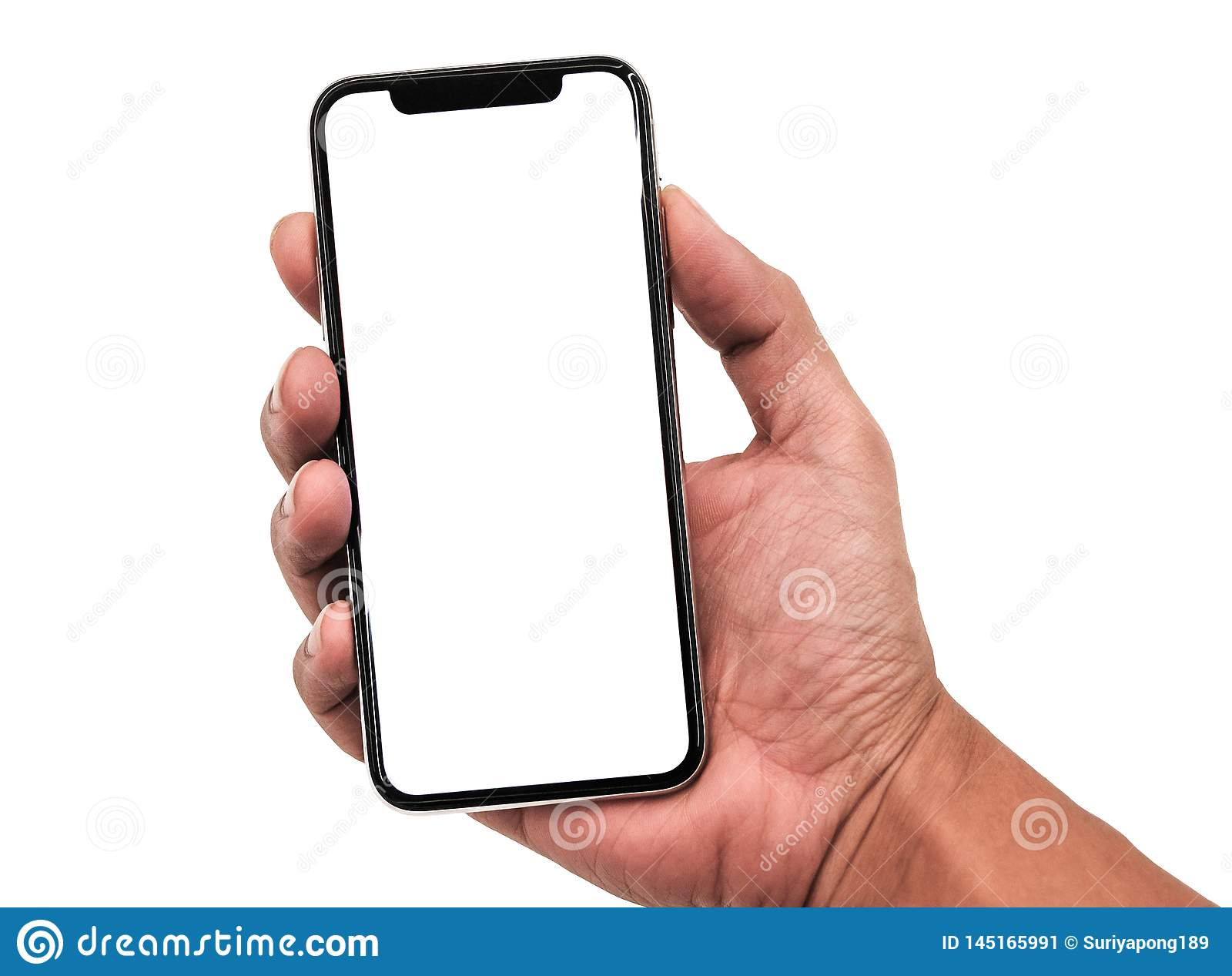Hand holding, New version of black slim smartphone similar to iphone x