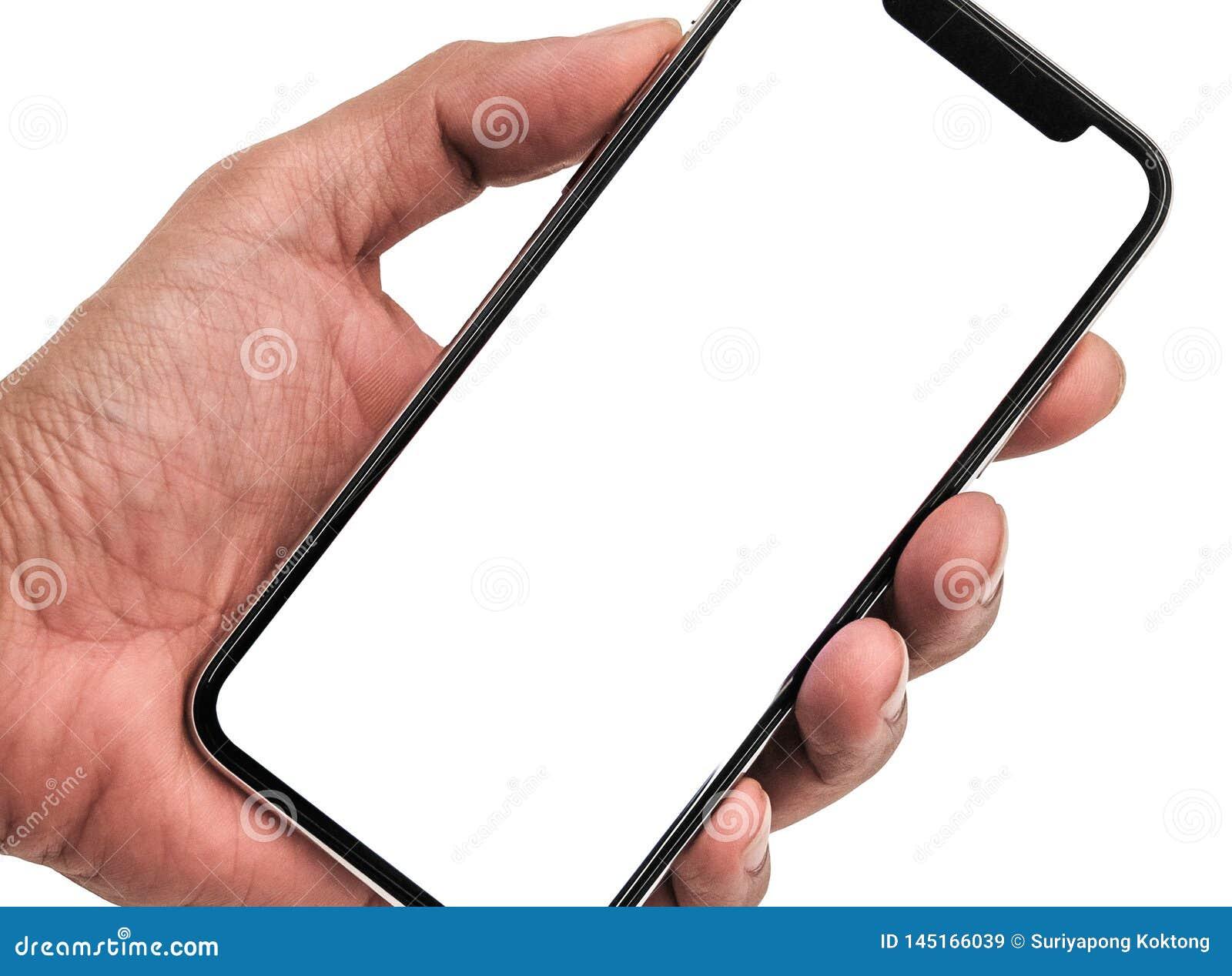 Hand Holding New Version Of Black Slim Smartphone Similar