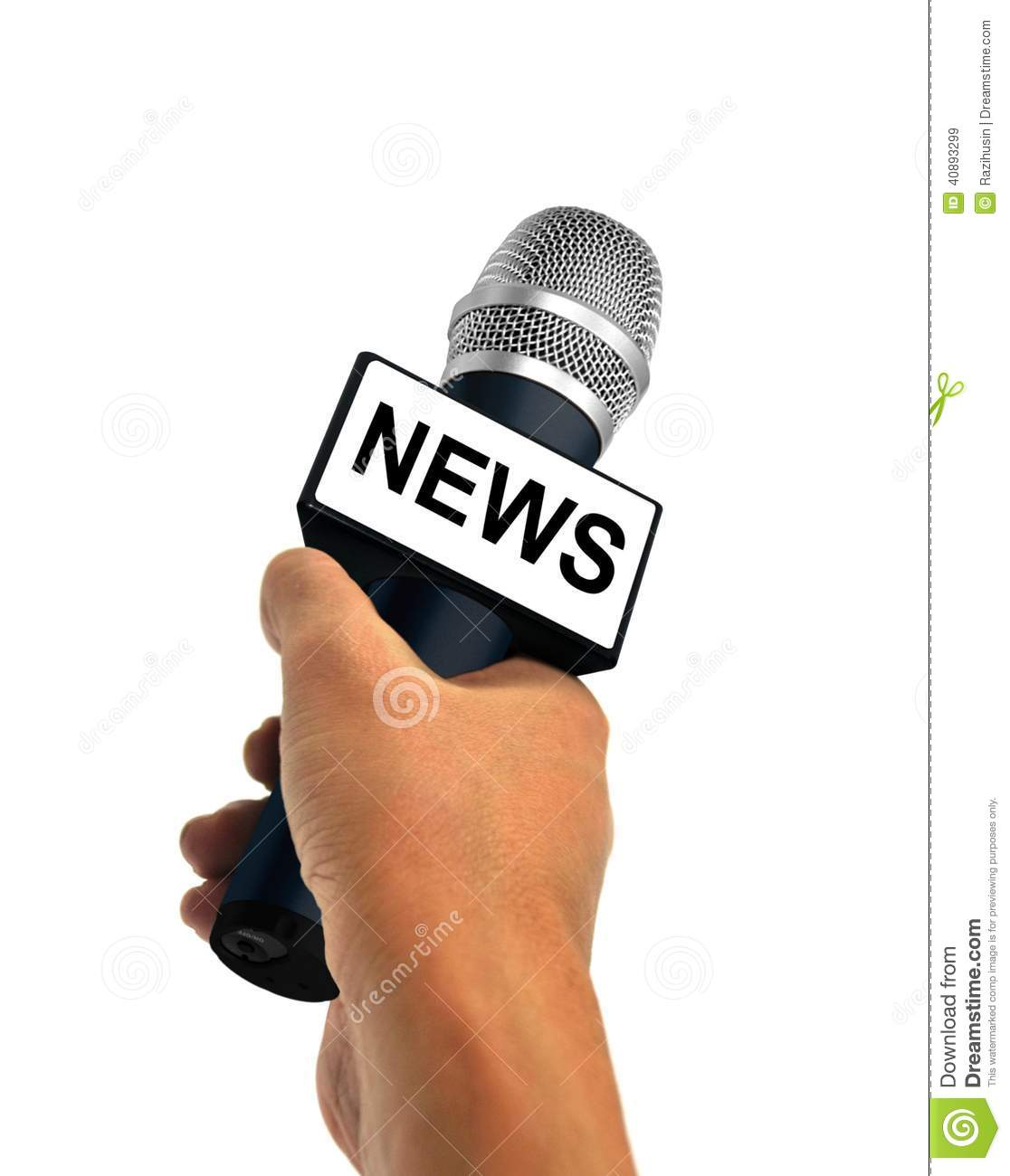Hand Holding News Microphone Stock Photo Image 40893299
