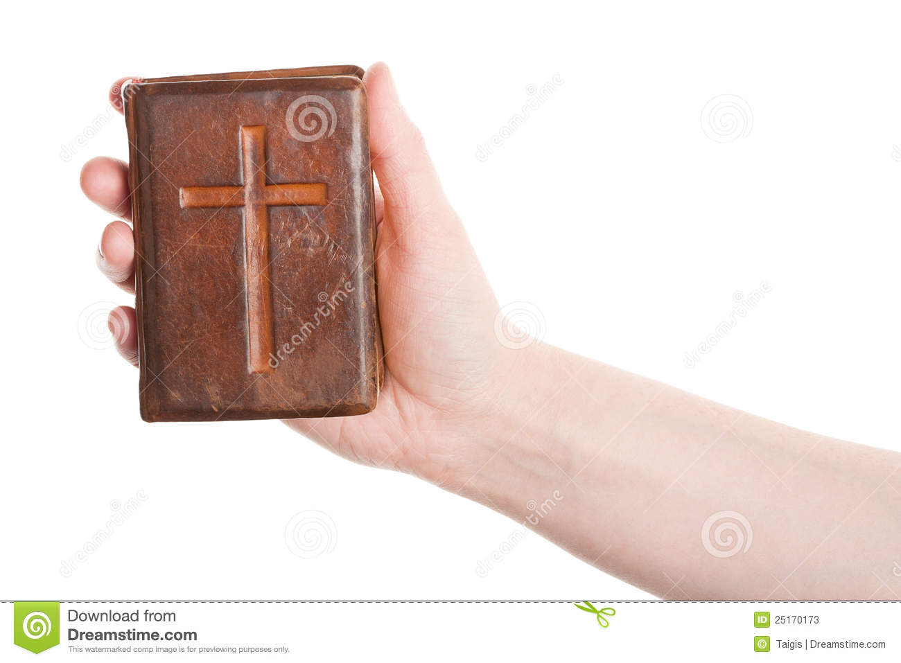 Hand holding the old bible