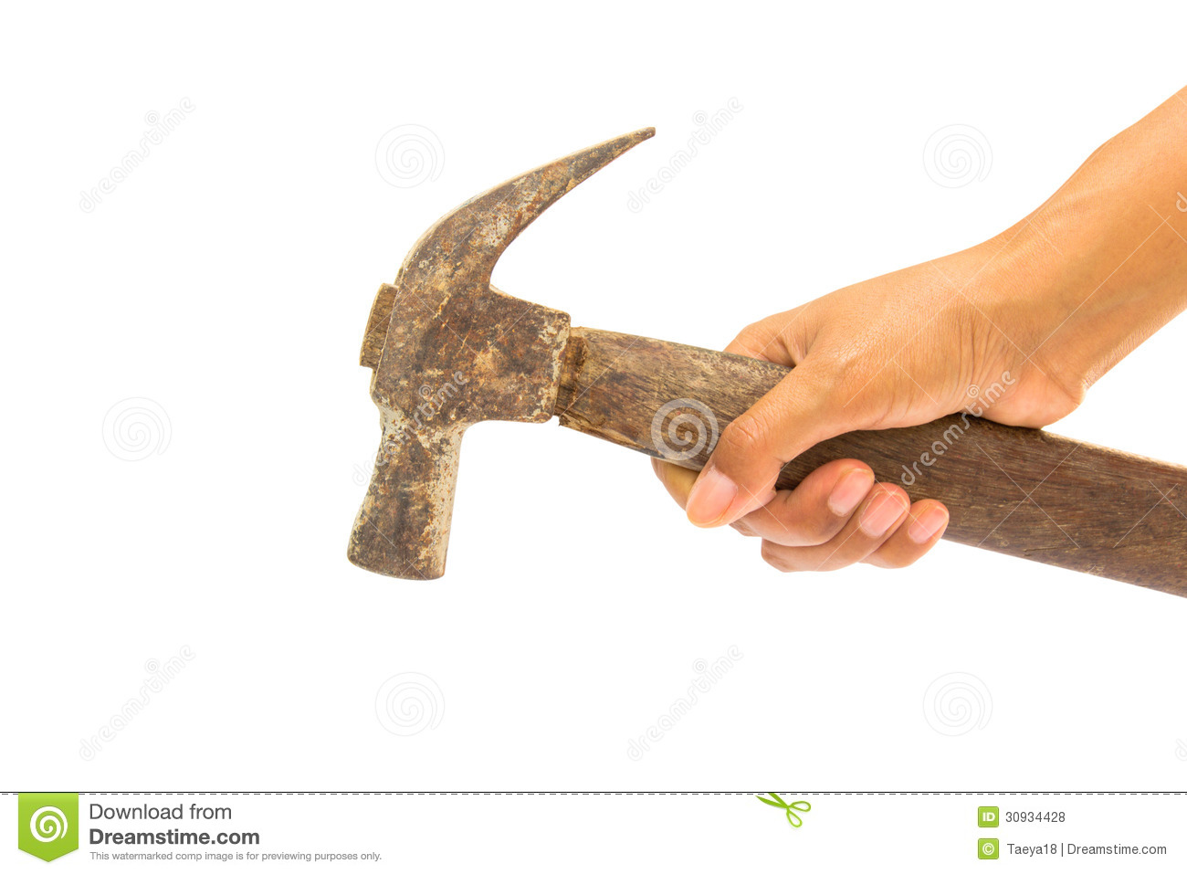 Hand Holding Old Hammer Royalty Free Stock Photos - Image: 30934428