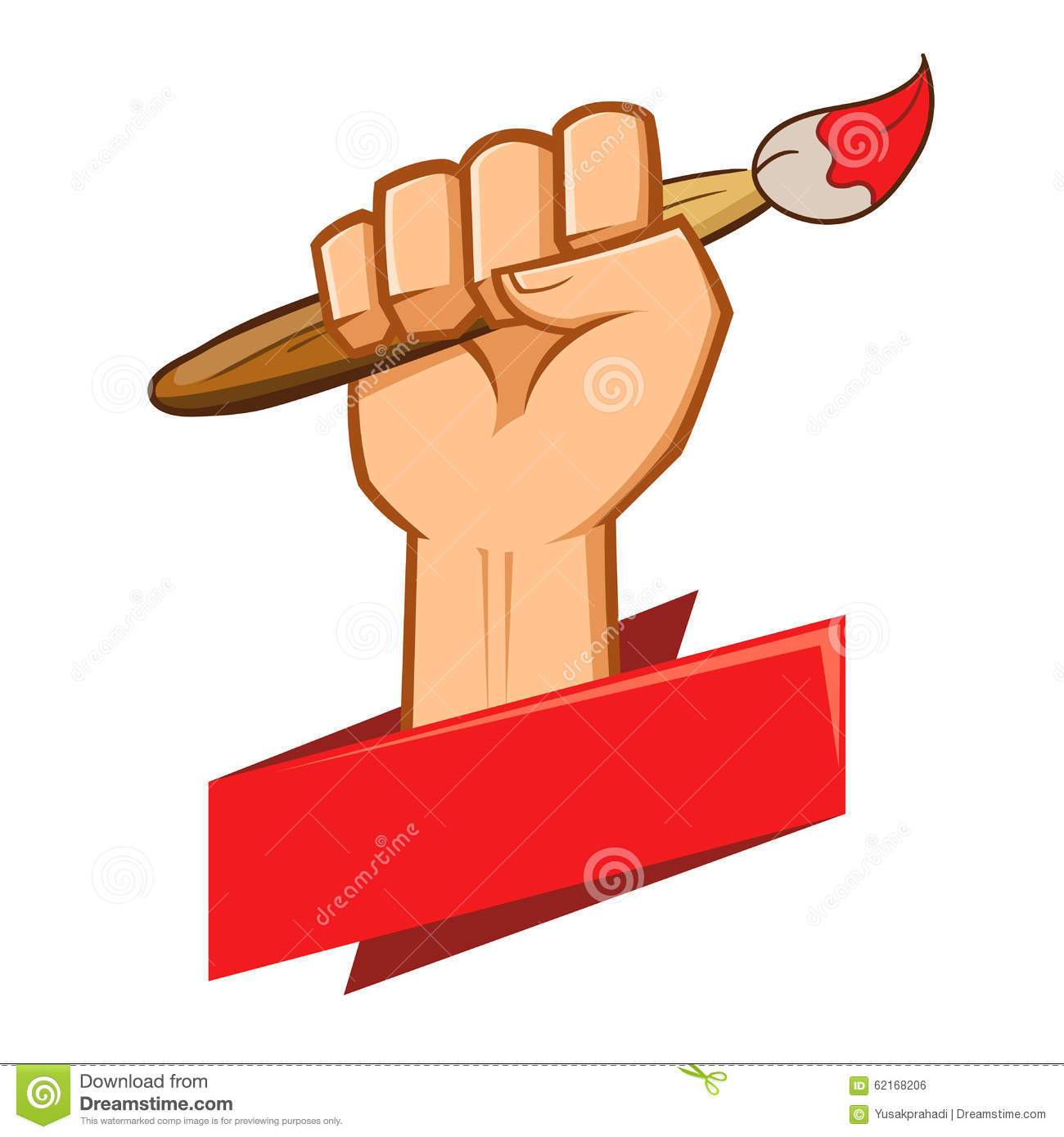 Hand Holding Paint Brush Held Up High Stock Vector Image