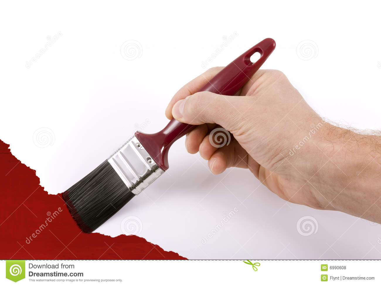 Hand Holding Paintbrush Painting Wall Red Royalty Free