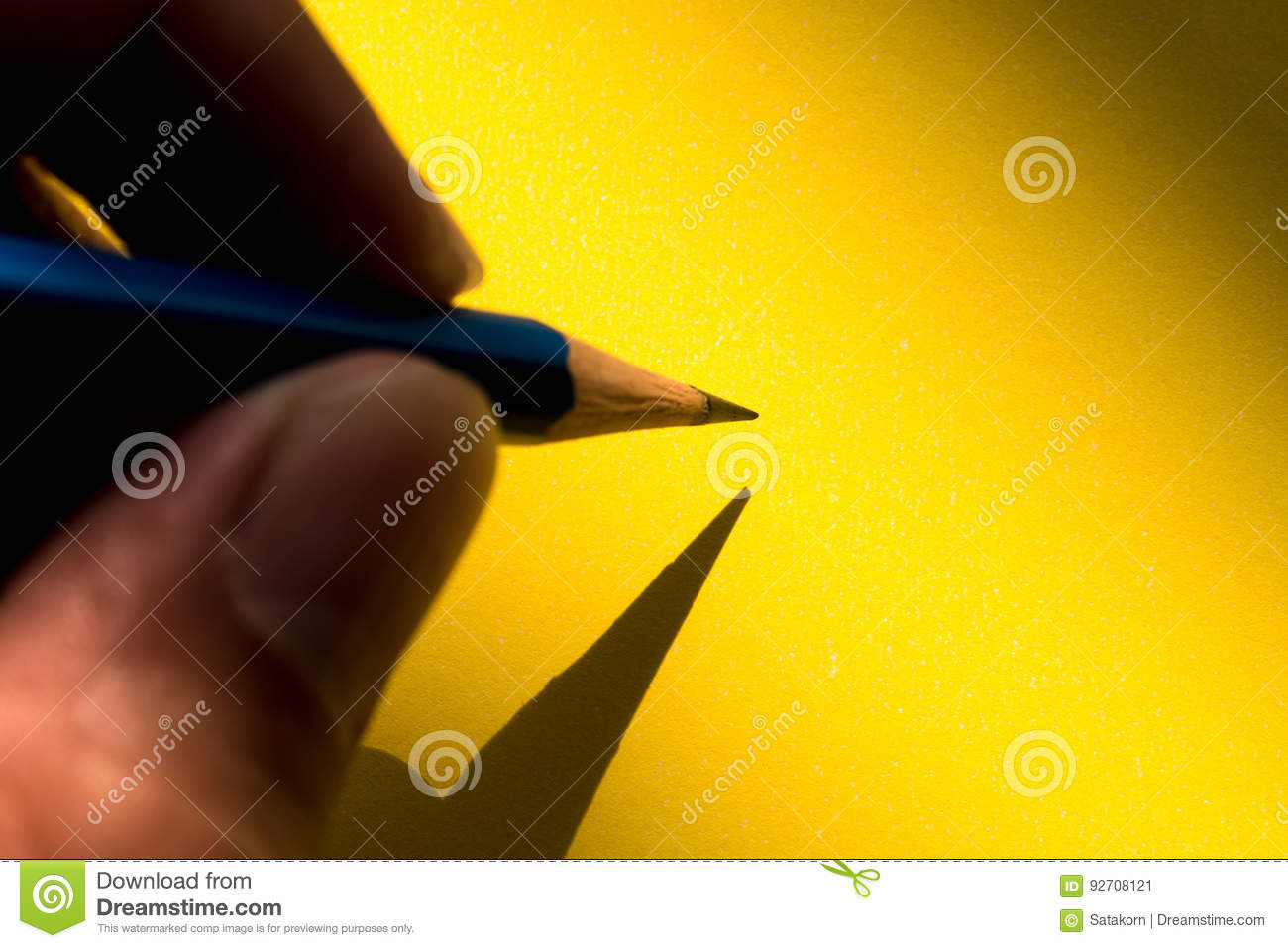 Download Hand Holding Pencil To Write On The Paper In Shadow Stock Image - Image of finger, human: 92708121