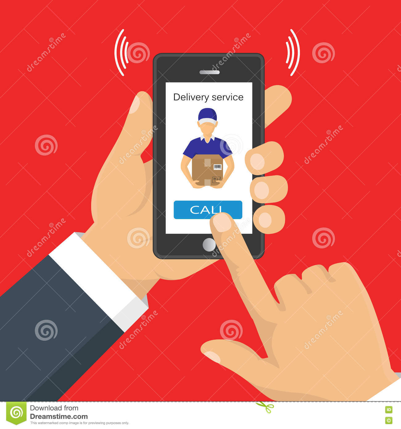 Hand Holding A Phone, Calling In Service Delivery  Stock Vector