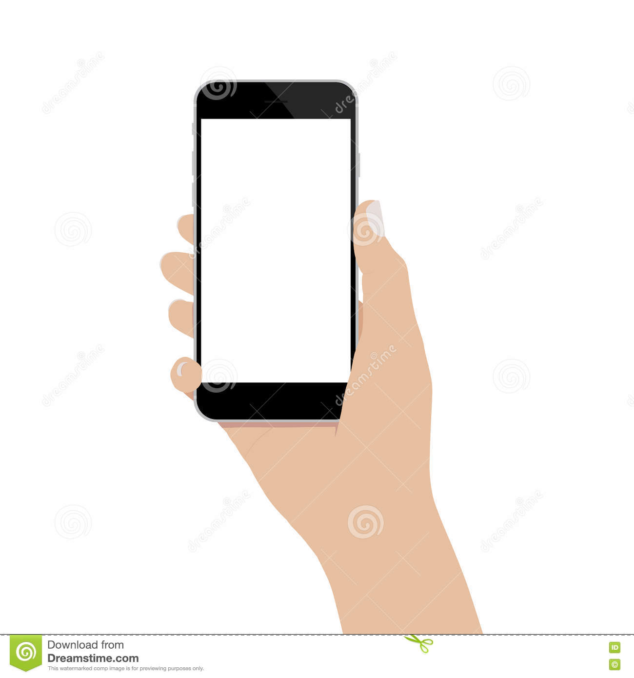Hand Holding Phone Isolated On Background Vector Design ...