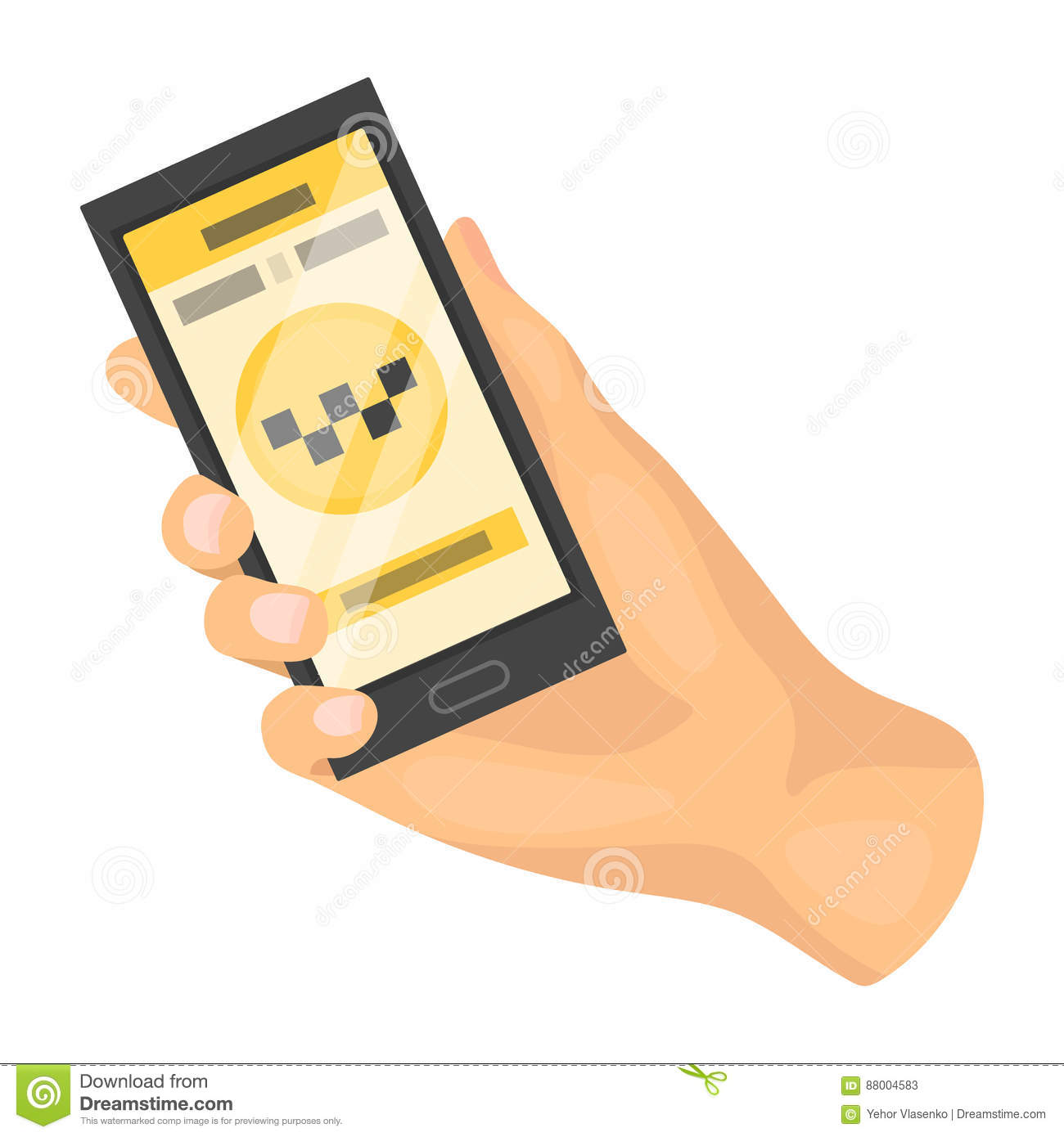 Hand Holding Mobile Phone Icon, Cartoon Style Vector ...