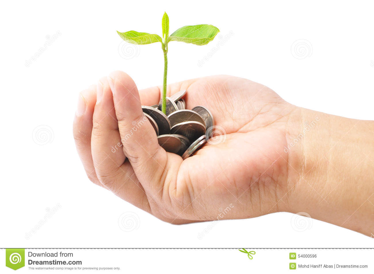 Hand holding a pile of coins and a small plant sprouting from th royalty free stock photo buycottarizona Gallery