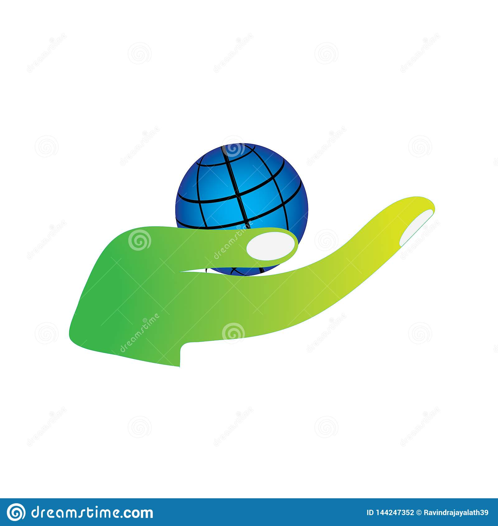Hand holding planet save green earth environment friendly logo.