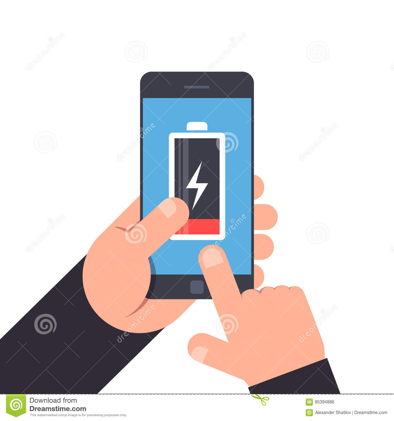 Hand holding and pointing to a smartphone. Low battery life of mobile phone. Battery icon on blue background smartphone