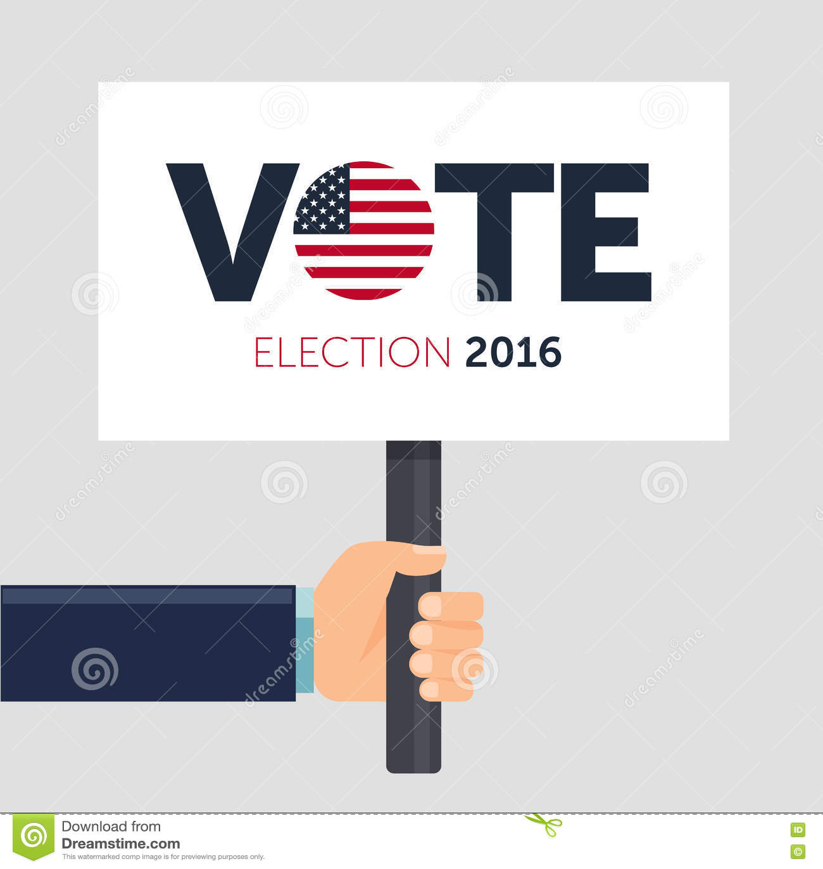hand holding poster vote presidential election 2016 in. Black Bedroom Furniture Sets. Home Design Ideas