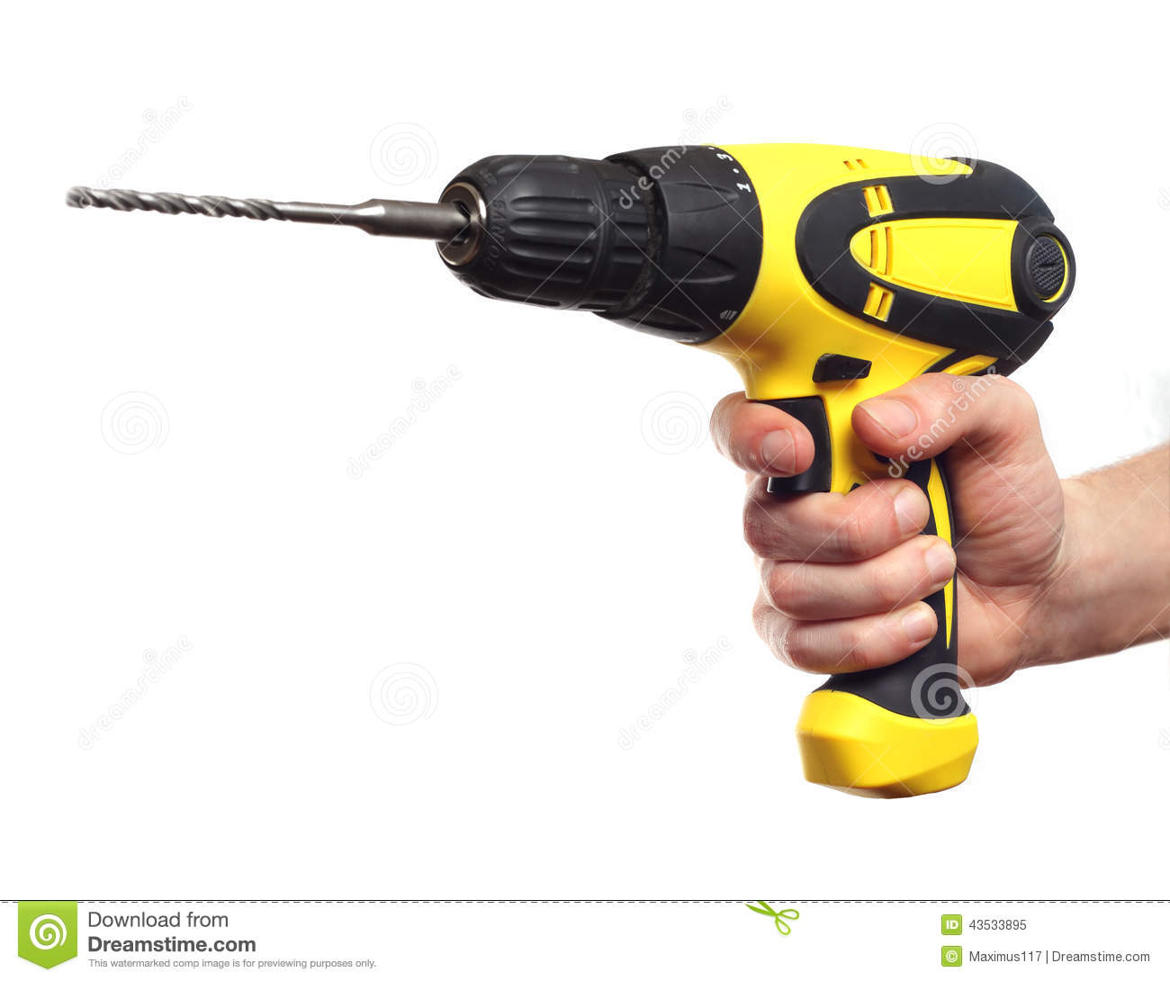 hand holding power drill stock image image of device. Black Bedroom Furniture Sets. Home Design Ideas