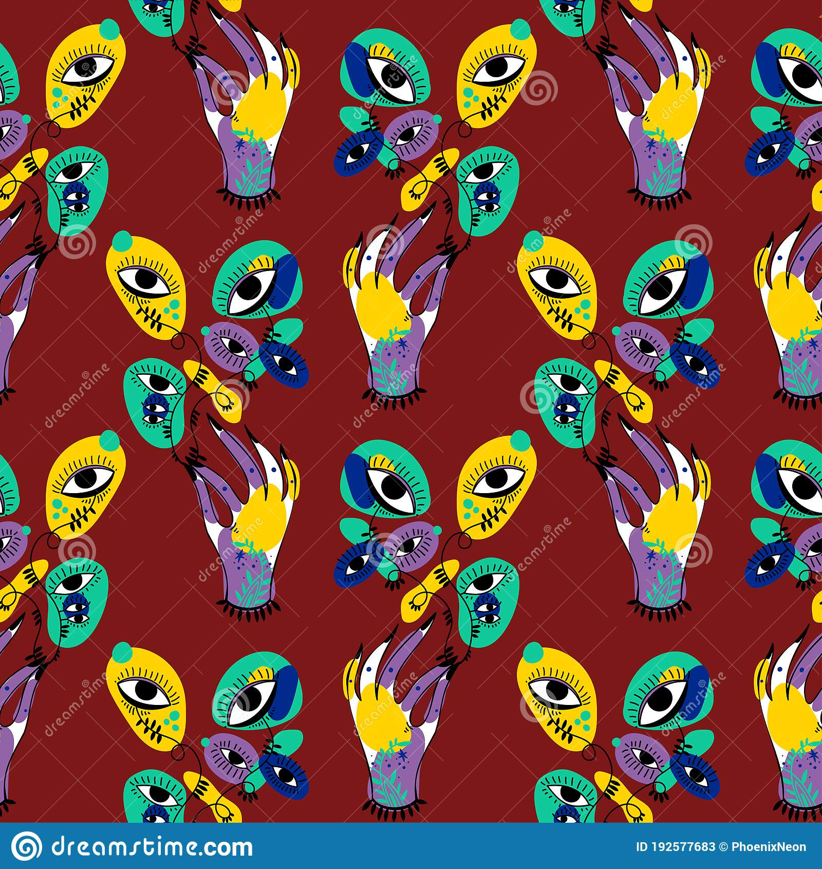 Hand Holding Psychedelic Plant Flower With Many Eyes Vivid Multicolor Seamless Pattern Stock Vector Illustration Of Alchemy Abstract 192577683