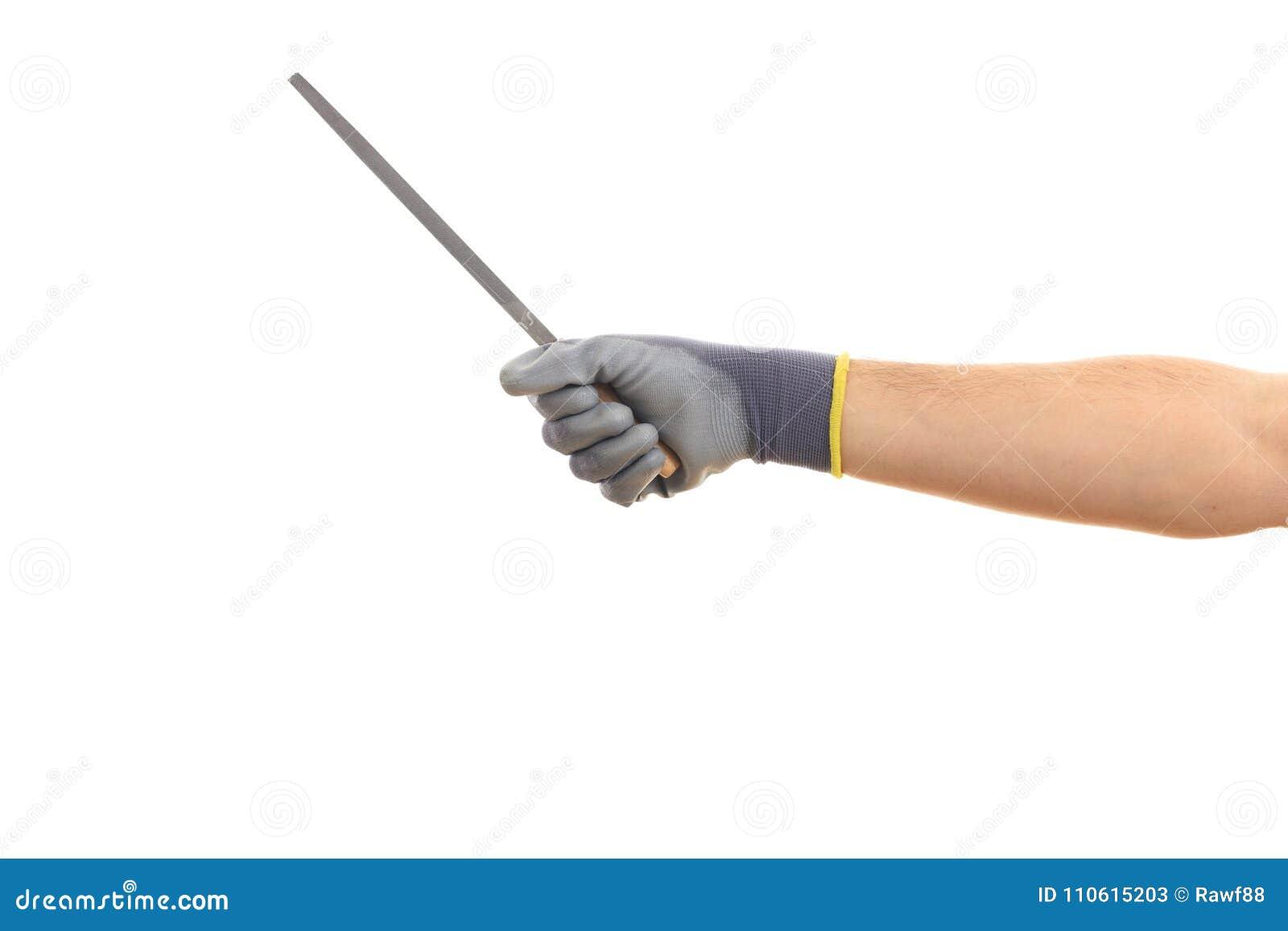 Man Holding A Rasp On White Background Stock Image - Image