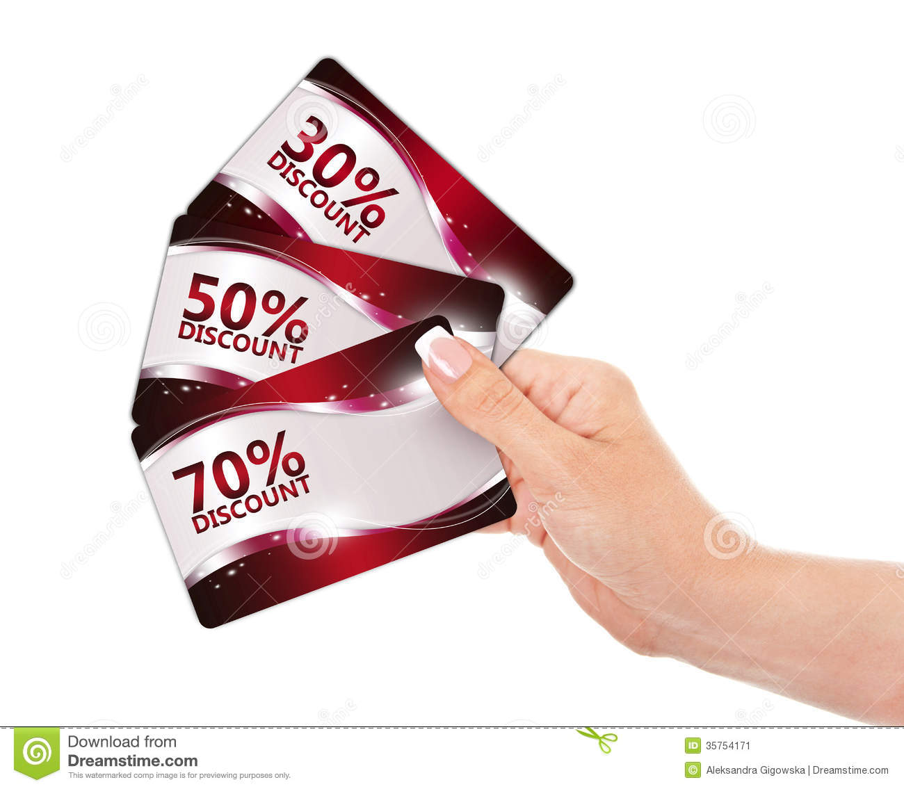 Hand Holding Red Discount Cards Isolated Over White Stock ...