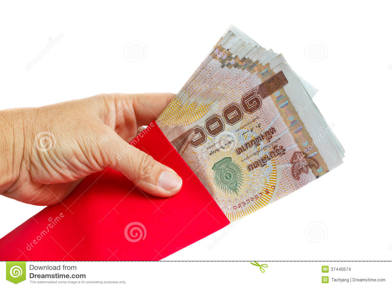 Hand Holding Red Envelopes With Money. Stock Photo - Image ...
