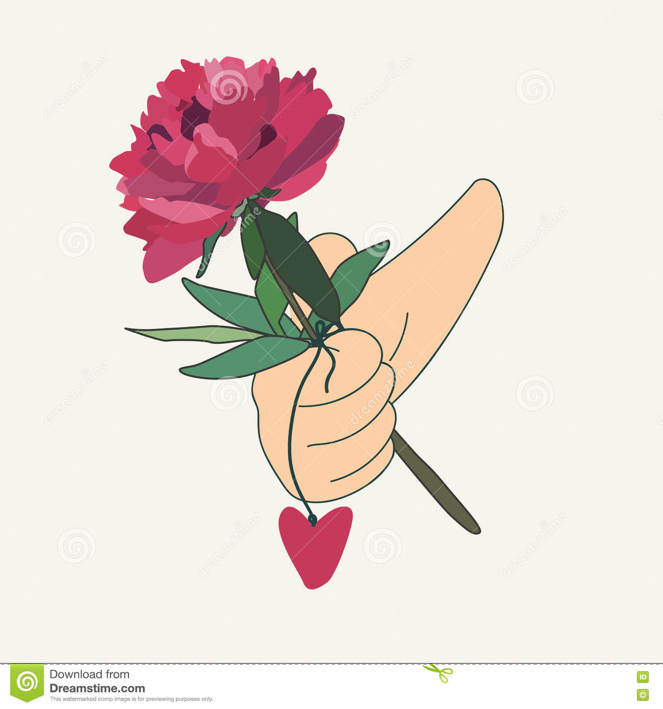 how to draw a hand holding a flower