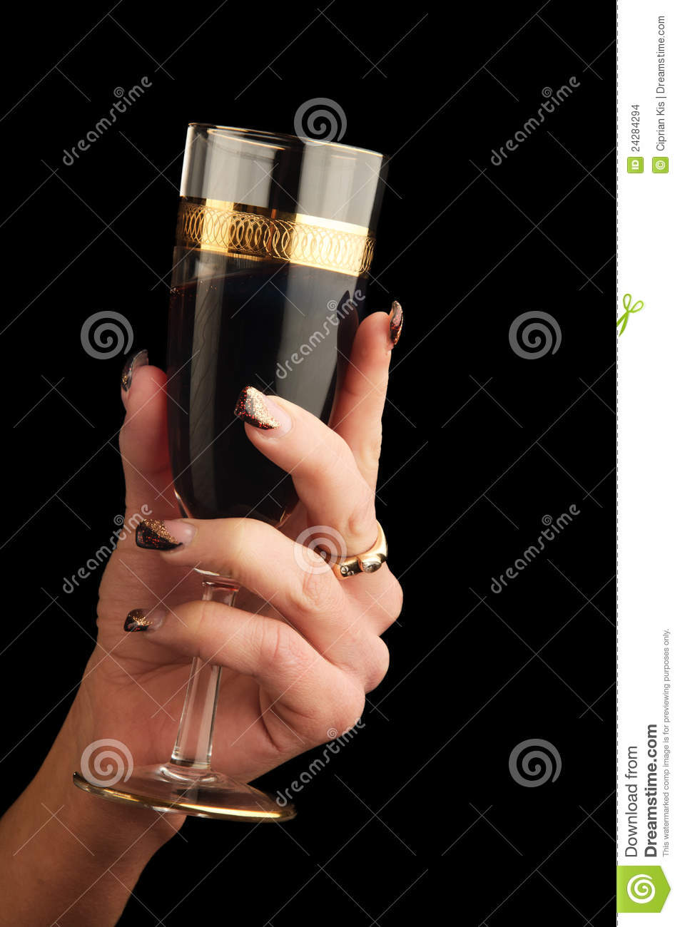Hand Holding Red Wine Glass Stock Images Image 24284294