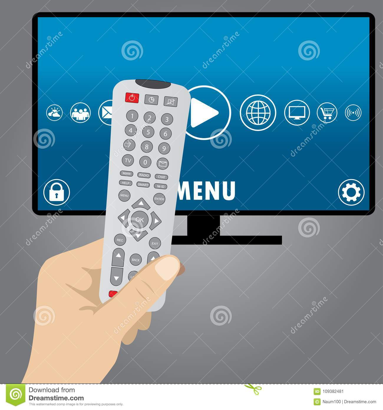 Hand Holding A Remote Control, Smart Television Stock Vector