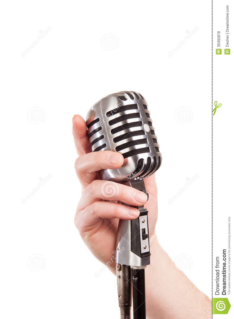 hand holding a retro microphone stock photo image 39492878. Black Bedroom Furniture Sets. Home Design Ideas
