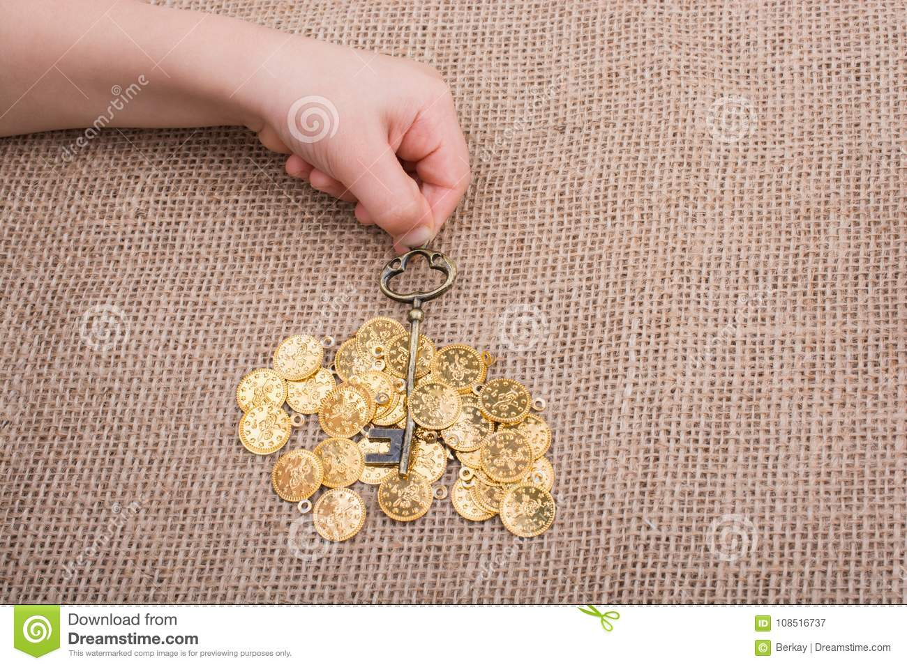 Hand Holding A Retro Styled Gold Color Key Stock Image - Image of