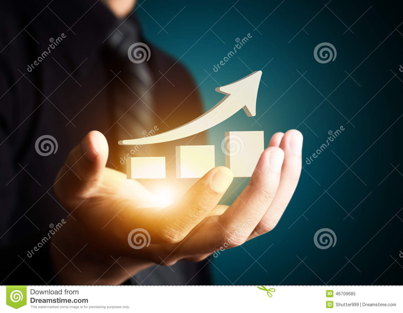 Hand holding a rising arrow,business growth.