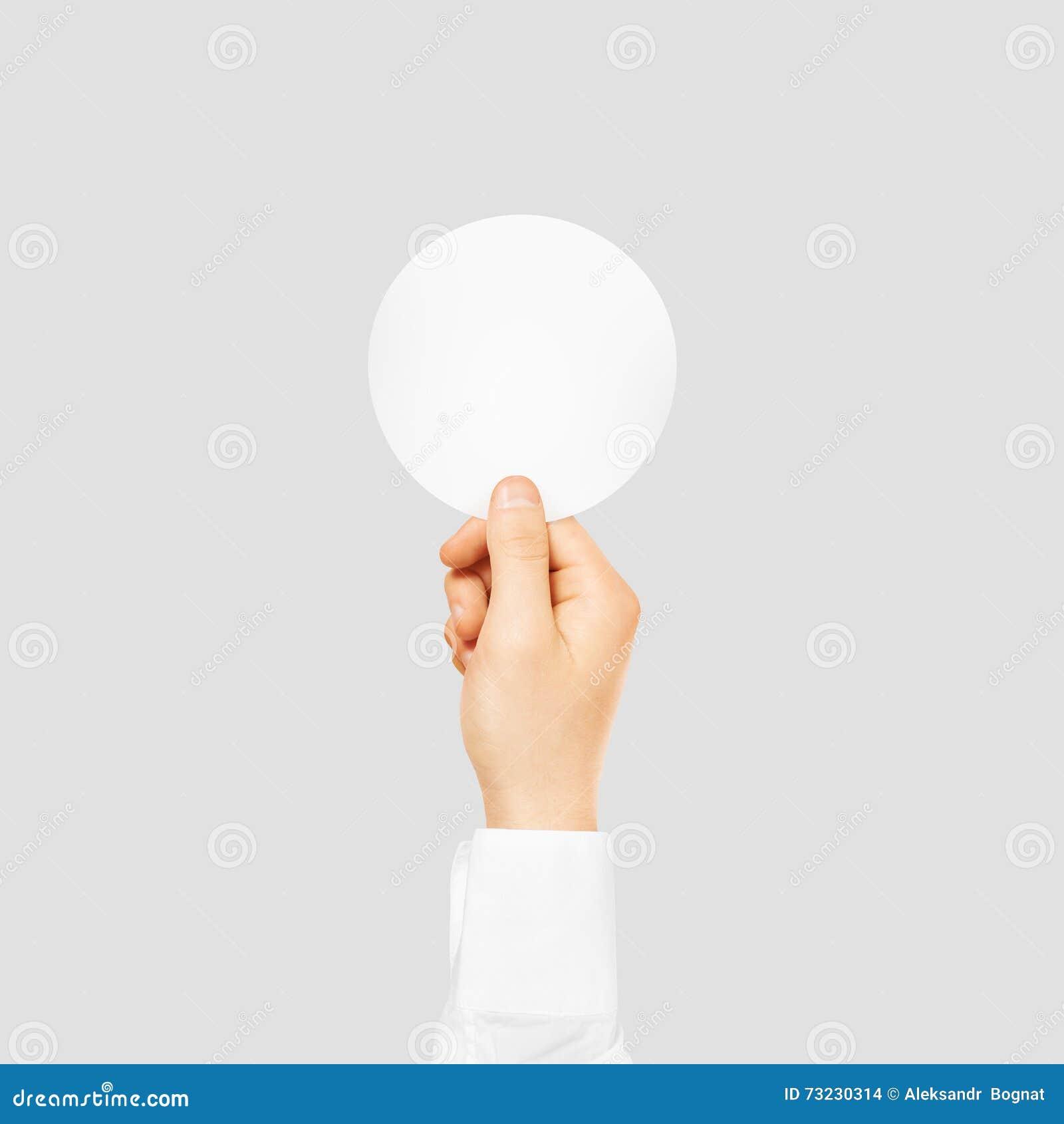 Hand Holding Round Blank White Sticker Mock Up Isolated On