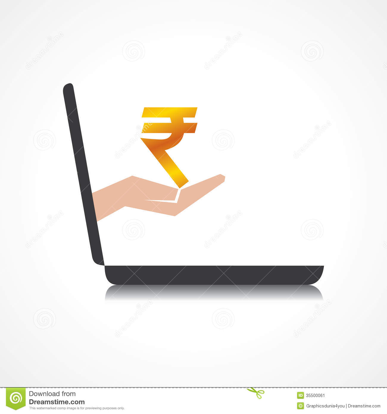 Hand Holding Rupee Symbol Comes From Laptop Scree Stock Vector