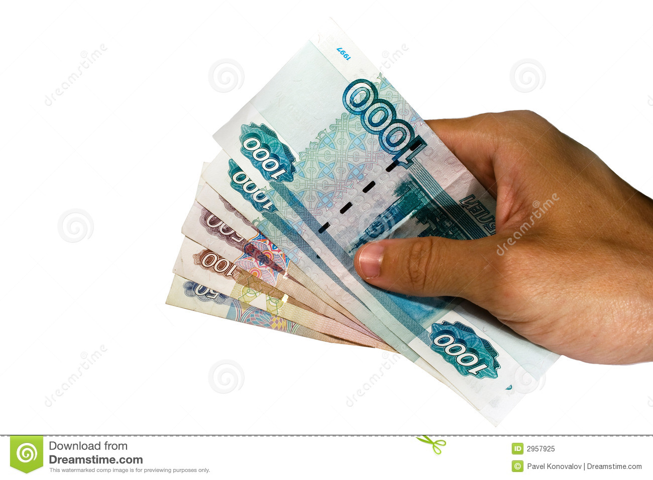 Hand holding Russian money