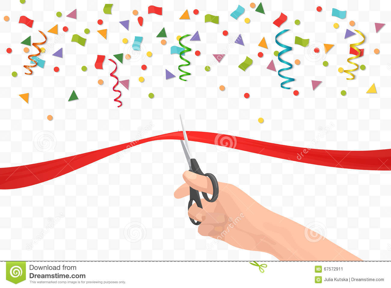 Hand Holding Scissors And Cutting Red Ribbon On The