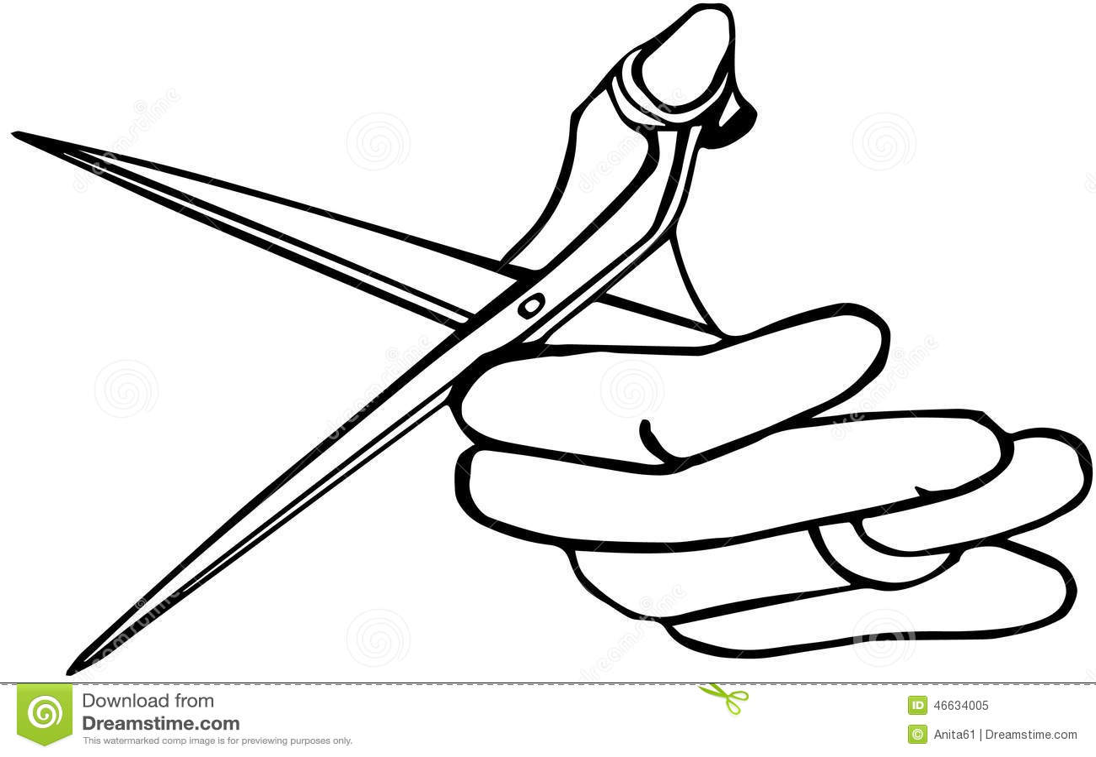 Hand holding scissors stock illustration. Illustration of ...