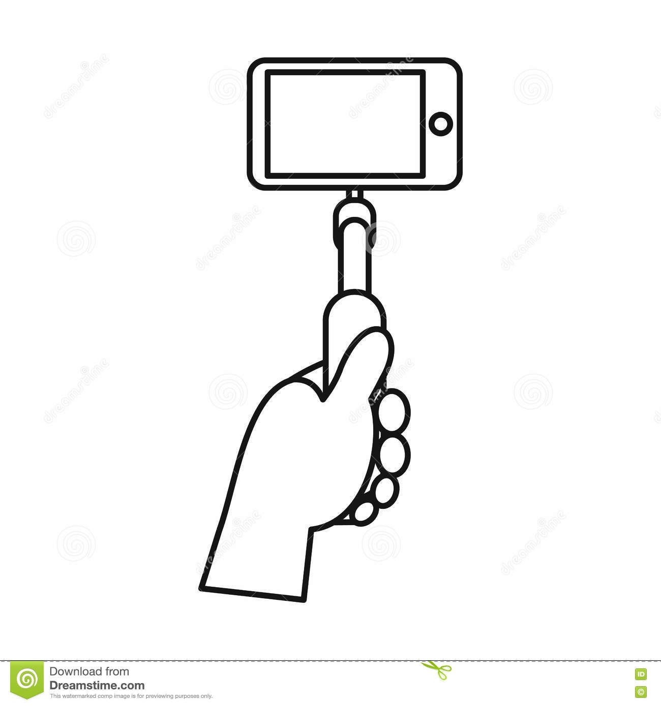 hand holding a selfie stick with mobile phone icon stock vector image 82480984. Black Bedroom Furniture Sets. Home Design Ideas
