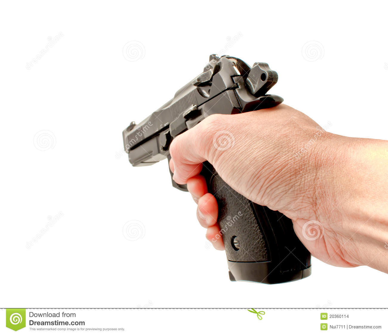 Hand Holding A Semi Automat Gun Pointing Forward Stock Images ...