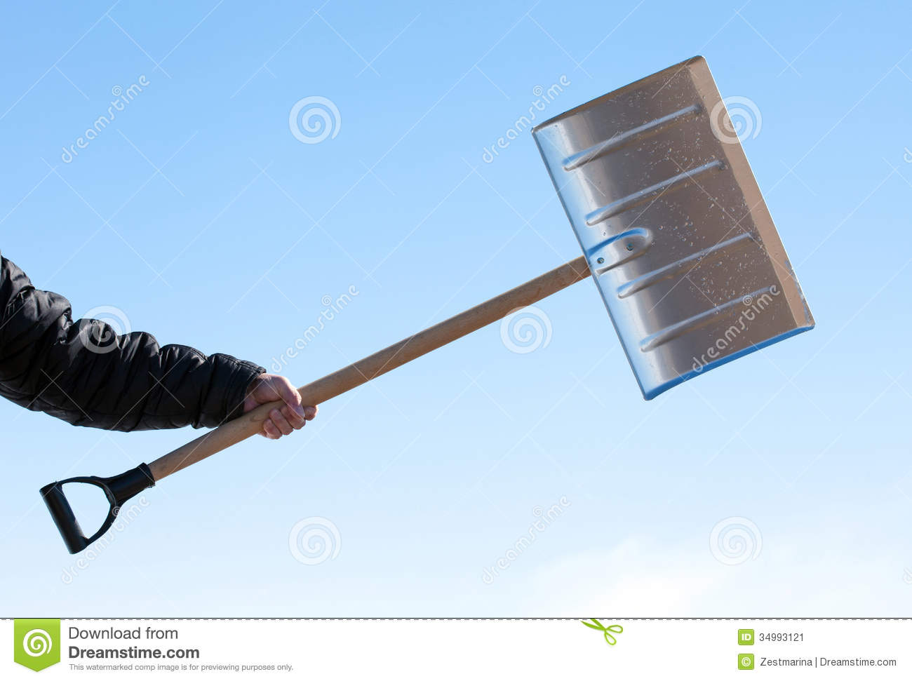 Hand Holding Shovel For Snow Removal Stock Image Image